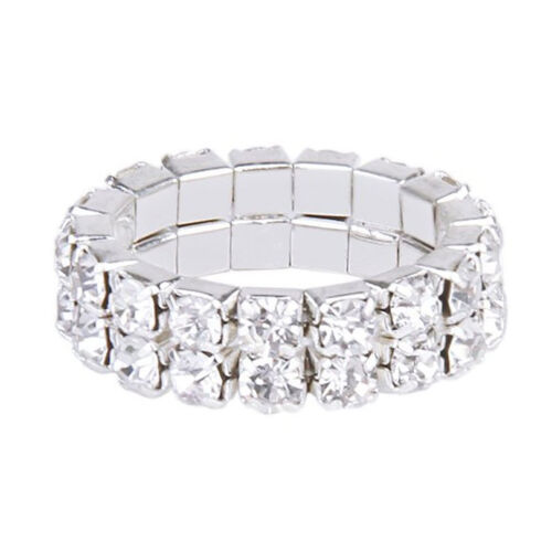 Elastic Silver Tone 2 Row Rhinestone Toe Ring Bridal Jewelry T1