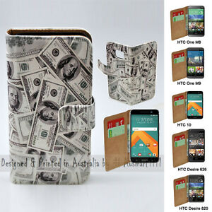 For-HTC-One-X9-10-M9-M8-Desire-820-626-USD-100-Note-Print-Flip-Wallet-Phone-Case