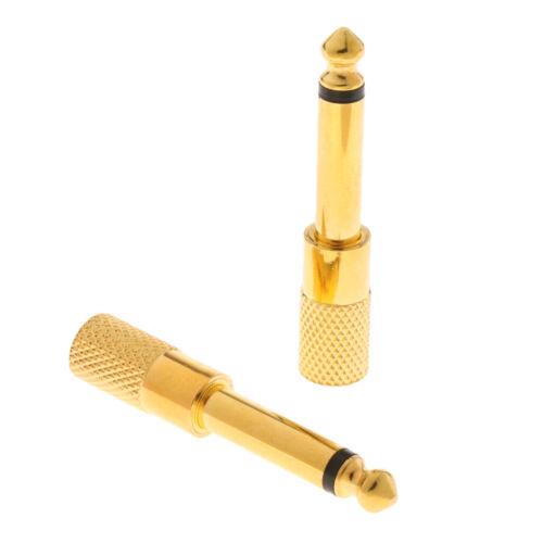 Durable Pack 2pcs 3,5 Mm Bis 6,35 Mm Adapter Golden Für Kopfhörer Mikrofon