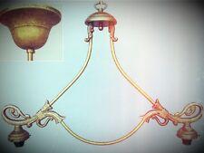 Hängelampe Billardlampe Messing brüniert ohne Schirm H.110cm