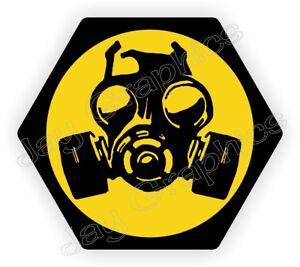 2 REFLECTIVE Funny Hard Hat StickersBIOHAZARD SYMBOLBio-Hazard Zombie Gas