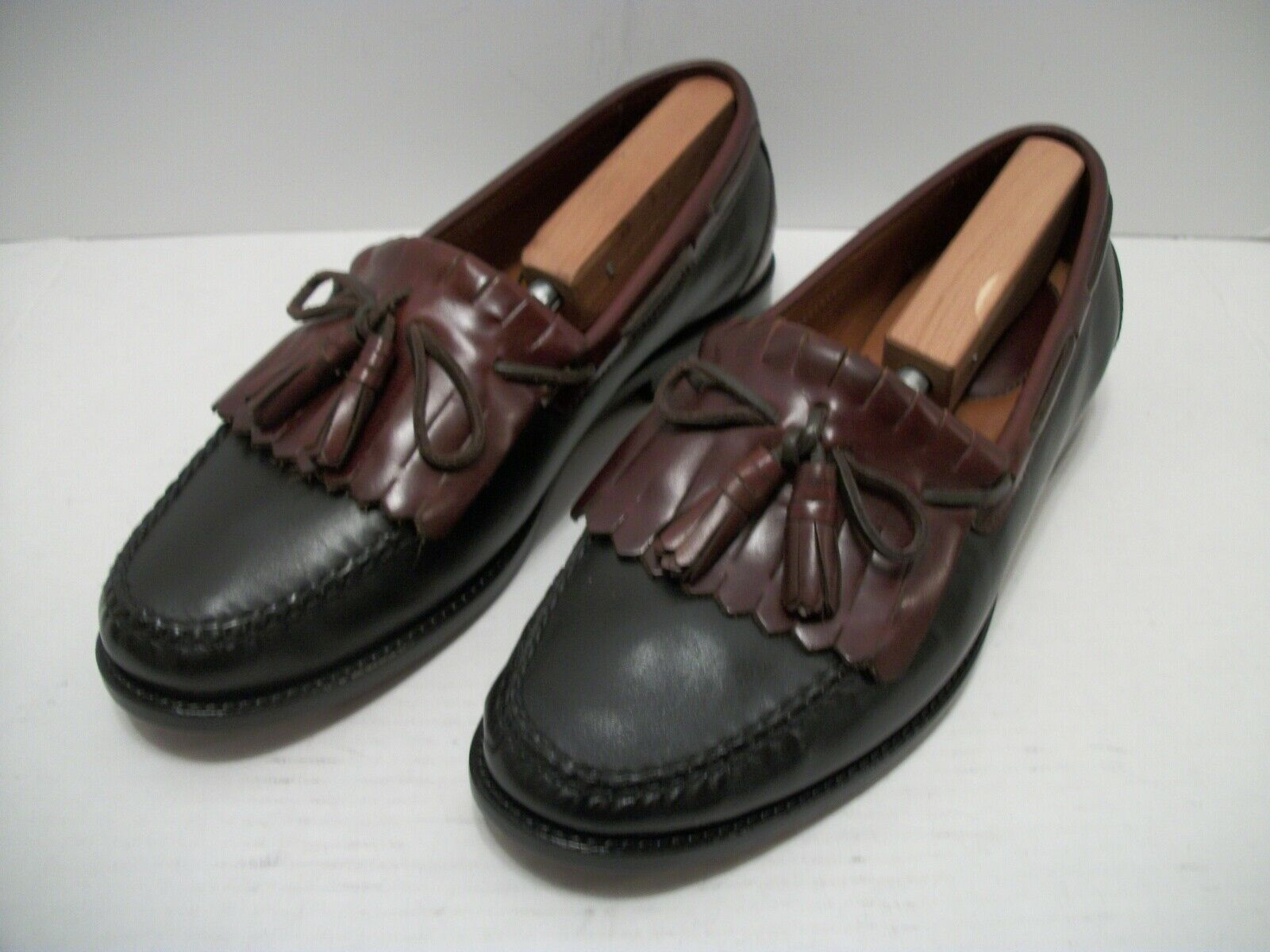 Mens Johnston & Murphy Blk Brn Leather Slip-on Moc Toe Kilt Tassel Loafer 10.5W