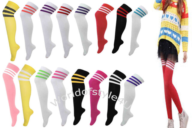 Ladies Over the Knee Socks Thigh High Striped Stripey Rainbow Colours Referee