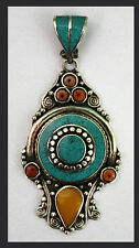 Sterling Silver Ethnic Turquoise Tribal Pendant Necklace Nepal Handmade P90