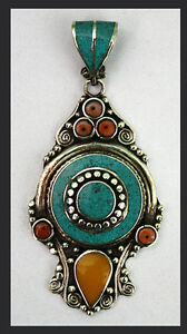 Asian-Sterling-Silver-Ethnic-Turquoise-Tribal-Pendant-Necklace-Handmade-P90