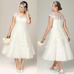 Sheer wedding dresses short sleeve appliques tea length bridal gowns image is loading sheer wedding dresses short sleeve appliques tea length junglespirit Gallery
