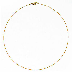 14 KT Yellow Gold Thin Cable Wire Collar Necklace .50 mm 18\