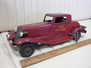 1930-MARX-Siren-Fire-Chief-Car-Pressed-Steel-Toy-14-034-w-Lights