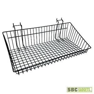 23 wire mesh basket bin w peg hooks hold hang small items ebay. Black Bedroom Furniture Sets. Home Design Ideas