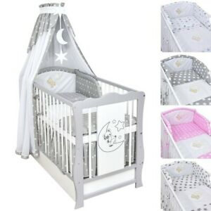 Babybett Kinderbett Grau Weiß Schublade Bettset Applikation komplett