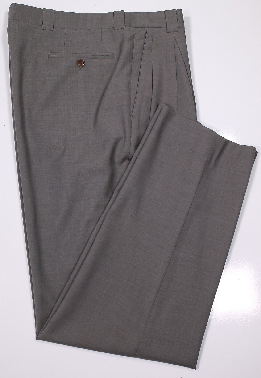 ARMANI COLLEZIONI  Solid Taupe Pleated Wool Dress Pants Trousers 33 x 33