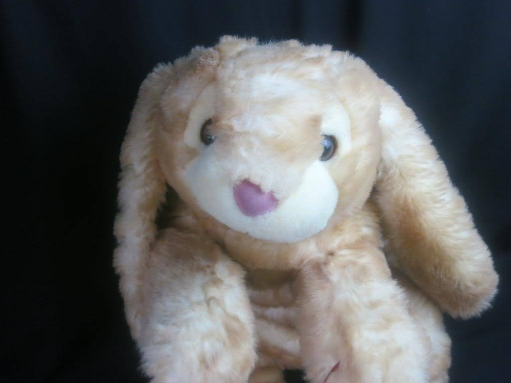 BIG JUMBO BRINDLE GOLDEN braun LAYING DOWN EASTER BUNNY RABBIT PLUSH STUFFED 32