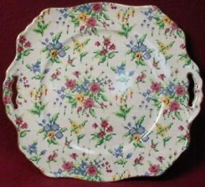 ROYAL-WINTON-china-QUEEN-ANNE-2995-pattern-SQUARE-Handled-CAKE-PLATE-Ascot