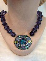Heidi Daus It Suits You Necklace Crystal Large Pendant Purple Blue