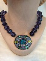 Heidi Daus It Suits You Necklace Crystal Large Pendant Purple Blue