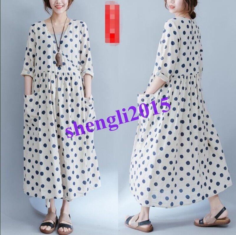 New Loose Women's 100% 100% 100% Linen Long Maxi Gown Polka Dot Long Sleeve Cotton Dress Y f6282c
