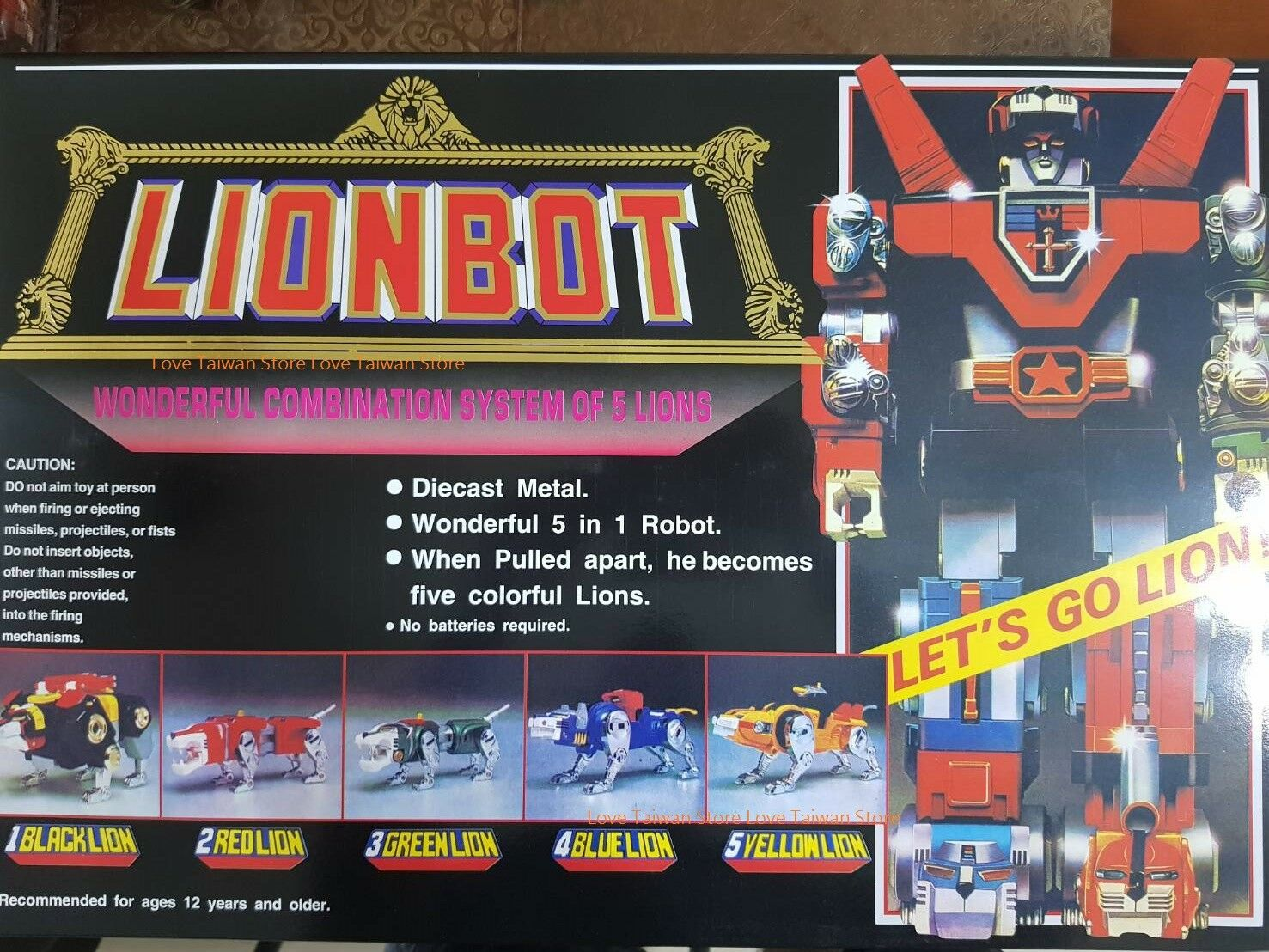 DHL Ship -New Lionbot (Taiwan Version) 1980 Chogokin Die-Cast Metal 5 in 1 Robot
