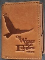 Mens Christian Wings Like Eagles Genuine Leather Tan Brown Trifold Id Wallet