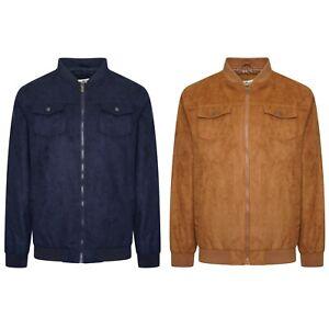 Mens-Faux-Suede-Grandad-Collar-Summer-Light-Full-zip-Jacket-Coat-Size-S-to-5XL