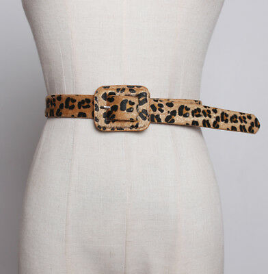 WOMEN/'S LADIES SKINNY BELTS WOMENS FAUX LEATHER WAIST BELTS LEOPARD PRINT