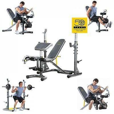 olympic weight bench and rack set gym workout exercise