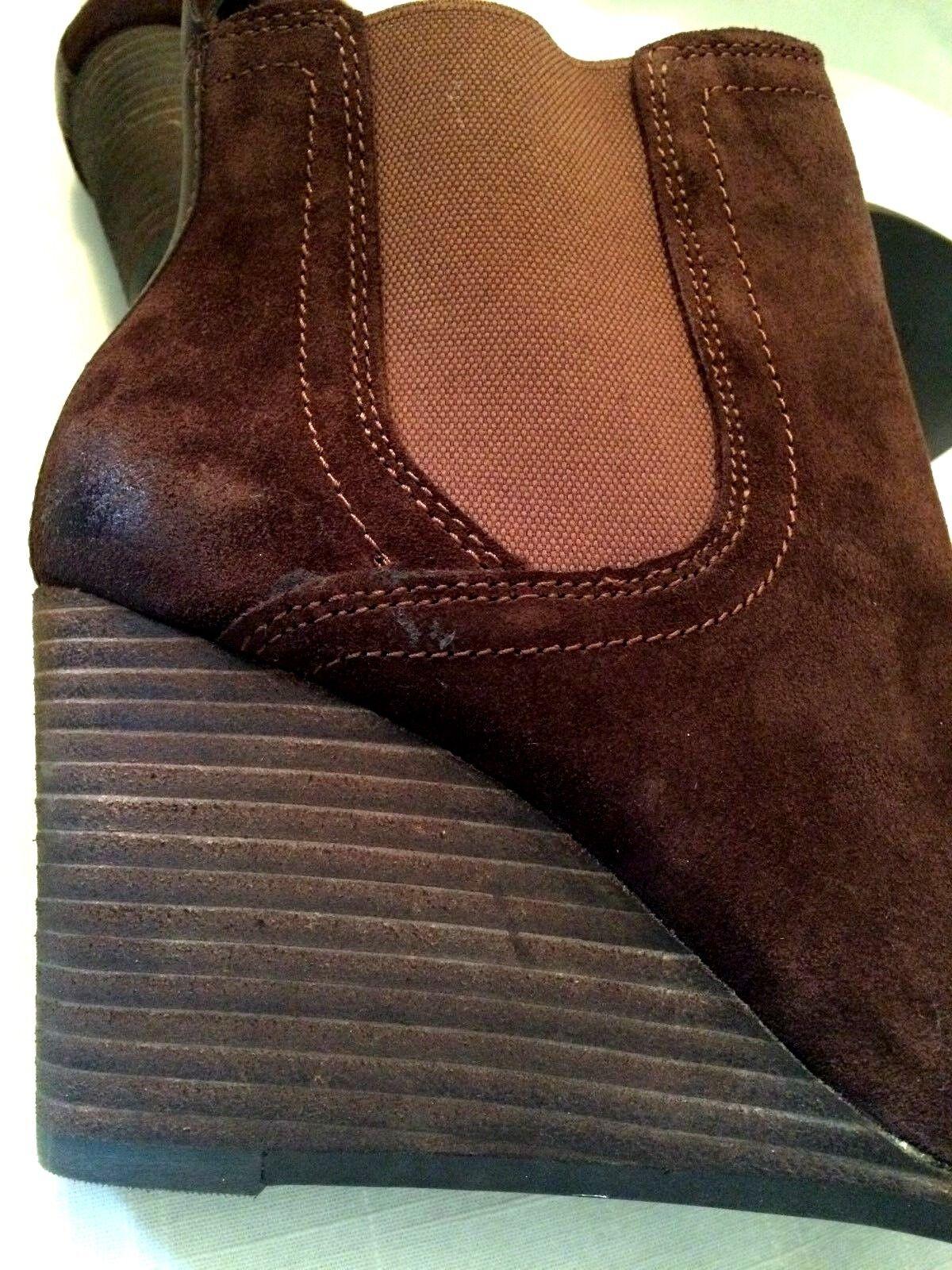 LUCKY BRAND LK-SERIES Brown Suede Leather Wedge Heel Heel Heel Boots Womens Sz 9 M 62ba6d