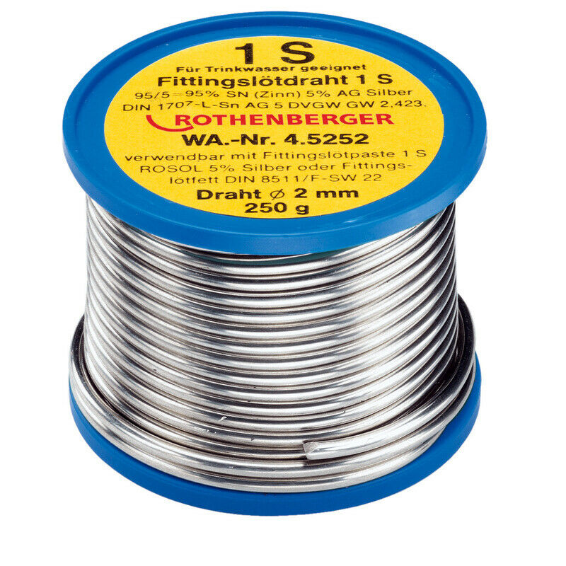 Rothenberger Fittings solder 1 S, 2 mm, 250g, coil 45252