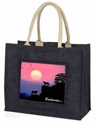 Soulmates' Löwen bei Sonnenuntergang große schwarze Einkaufstasche WEIHNACHTEN