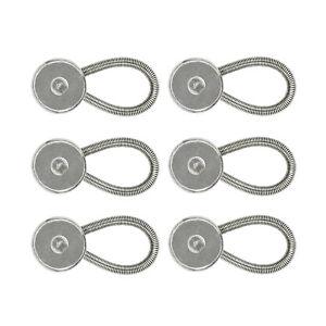 Pack of 6 Metal Flexible Extenders Buttons For Shirt Collar Dress Neck Tie