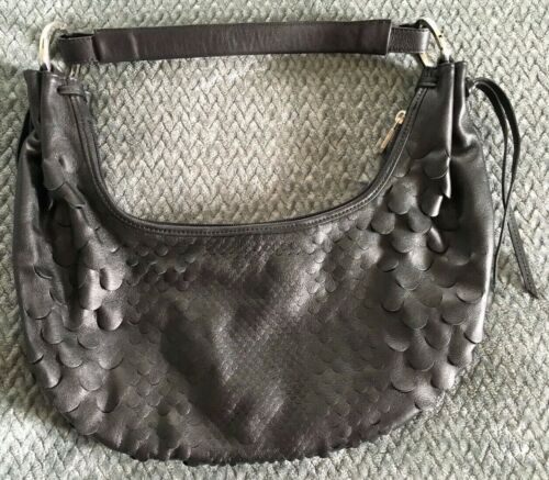 PRUNE Fish Scale Black Leather Hobo Moon Bag Purse