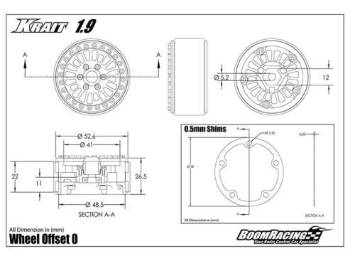 Boom Racing Krait 1.9 Golem Beadlock Wheels RC Crawlers Gun Metal BRW780903GM