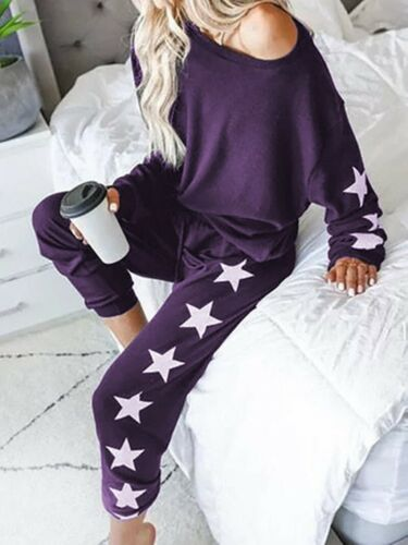 Womens Home Fashion Loose Long Sleeve Strapless Casual Set Tracksuit Casual Suit