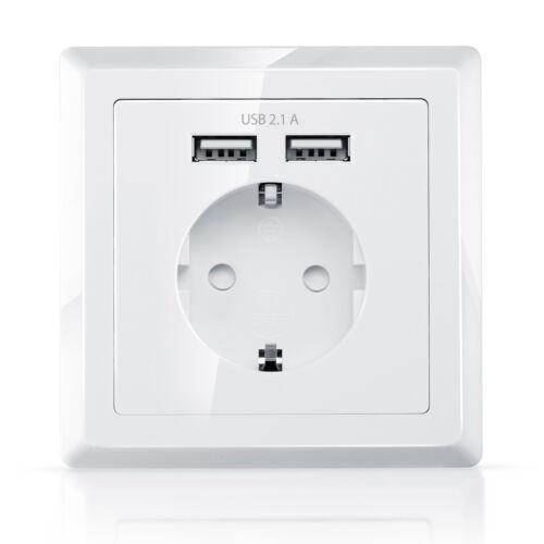 CSL Schutzkontakt-Steckdose USB-Wandsteckdose Unterputz 2x USB-Ports Abdeckung