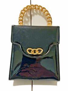 "Vintage 50""s Handbag Black Patent Leather Hard Solid Chain Link Handle VGC"