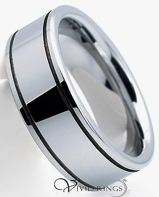 Mens Tungsten Carbide Wedding Band Double Grooves Ring - 8MM - Size 7.5 to 14.5
