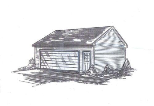 22 x 26 2-Car RD Garage Building Blueprint Plans SD/Vault