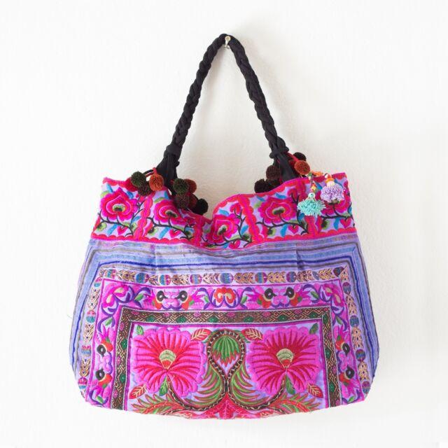 Purple Flowers Handmade Hmong Tribes Tote Bag Thai Handbags Embroidered Fabric