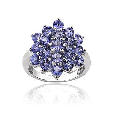 925 Silver 2.5ct TGW Tanzanite Flower Ring