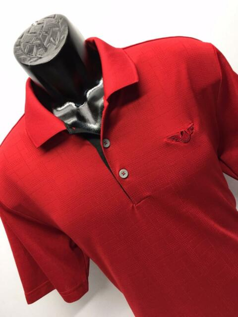J13 NEW Mens Adidas ClimaCool Red Polo Golf Shirt Size Medium M Atlanta Hawks