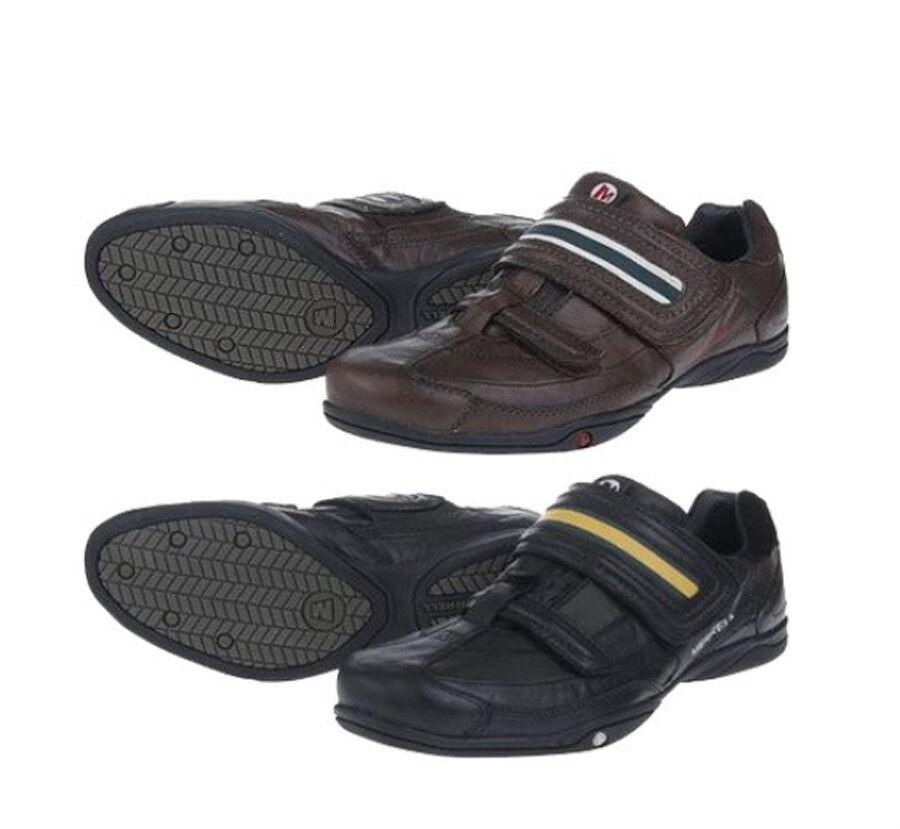 Merrell Para Hombre Velo-City Casual Zapatos Para Caminar Zapatillas De Cuero Negro y Marrón S7  10