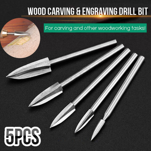 5Pcs//Set Wood Carving Engraving Drill Bit Milling Cutter Root Woodworking Tool