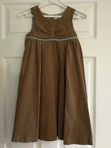 71efe5ae4 BNWT Darcy Brown beige cord pinafore dress with turquoise trim age 3 ...
