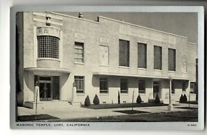 1940-039-S-UNUSED-POST-CARD-MASONIC-HALL-LODI-CALIFORNIA-CA