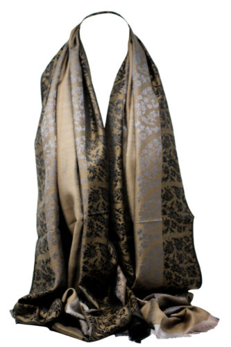 Floral//Stripes Two Sided Self Embossed Pashmina Feel Wrap Scarf Stole Shawl