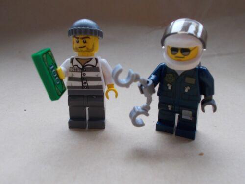 NEW LEGO CITY POLICEMAN /& BURGLAR MOTORBIKE COP PILOT /& ROBBER WITH MONEY TILE