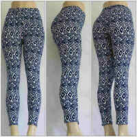 Fashion Abstract Pattern Printed Leggings Women's Stretch One Size Skinny Pants