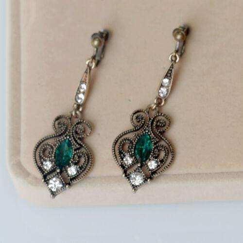 Boucles d`Oreilles Clips Doré Vert Pavé Long Art Deco Goutte Filigrane Fin B10