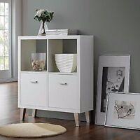 Modern Sideboard Cabinet Furniture Retro White Wooden Cupboards Shelves Storage