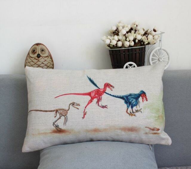 Linen cotton Rectangular PILLOW CASES CUSHION COVERS Dinosaur