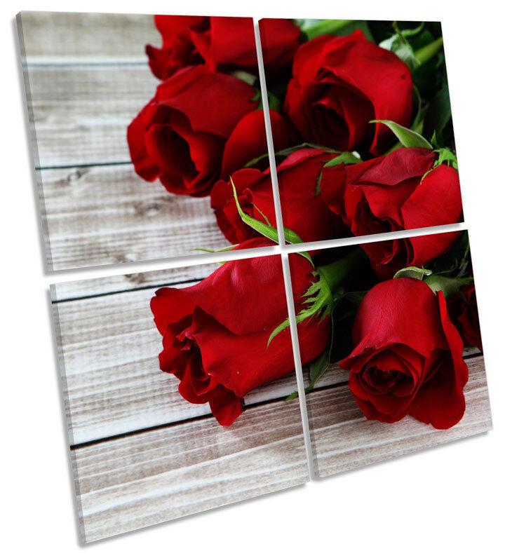 rosa FIORI FLOORBOARD Floreale Multi Canvas Wall Art quadrato quadrato quadrato foto 500469